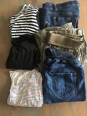 6 PC Fall/Winter Maternity Clothes MEDIUM Lot L/S Shirts And Jeans/pants