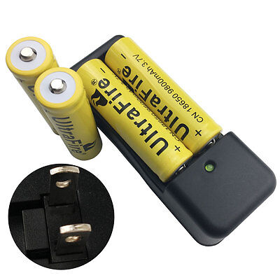 4X 18650 9800mAh 3.7V Li-ion Rechargeable Battery with Fast Dual US Plug Charger