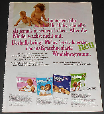1971 vintage MOLNY BABY DIAPERS - OVERNIGHT - GERMANY 1-PAGE PRINT AD bedwettin