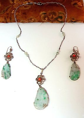 Old carved Chinese jade & filigree floral earring necklace set