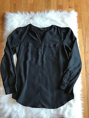 MOSSIMO Women's Black Blouse Shirt Tunic top Size M Preowned FLAWED