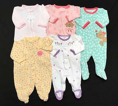 Baby GIRL Newborn 0-3 months ALL CARTER'S SLEEPER PAJAMA Clothes LOT