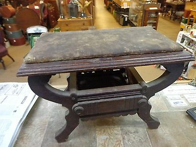 Antique Victorian Vintage Wooden Foot Stool Ottoman  furniture primitive ornate