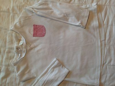 Baby girls ZARA long sleeved white top with red striped pocket size18 - 24 month