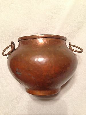 Vintage Nekrassoff Signed Hand Hammered Forged Copper Pot With Handles Rare !