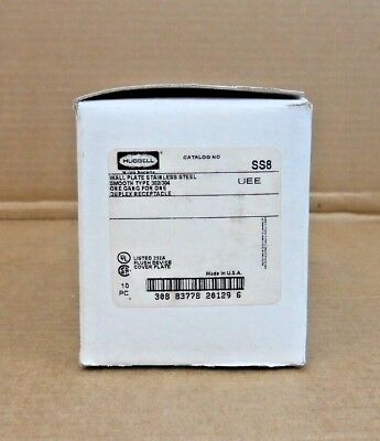 Box Of10 Nib Hubbell Ss8 Wall Plate Stainless Steel 302/304 1 Gang (21 Avail)