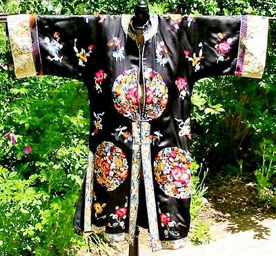 Antique Vintage Chinese Embroidered Black Jacket Robe Roses Endless Knot Flowers