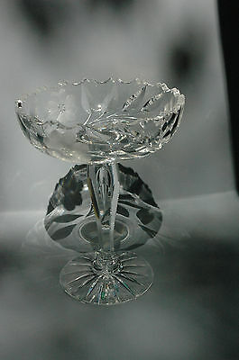 Antique Cut Glass Compote with Teardrop Stem