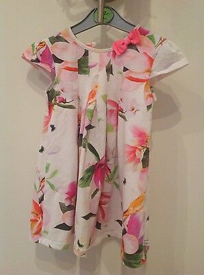 Baby girls Ted Baker white floral cap sleeved dress age 18-24 months