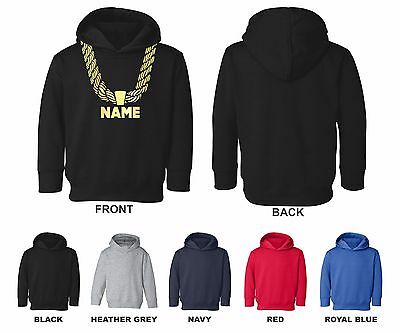 Gold Chain Custom Personalized Name Hip Hop Funny Toddler Hooded Sweatshirt