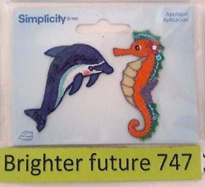 NEW! Simplicity Applique Embroidered Patch Iron-on Dolphin & Seahorse Free Ship