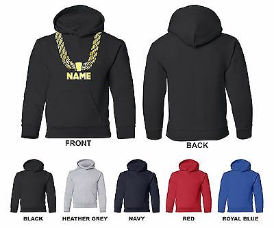 Gold Chain Custom Personalized Name Hip Hop Funny Youth Hooded Sweatshirt