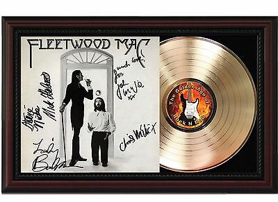 Fleetwood Mac 24k Gold LP Record With Reprint Autographs In Cherry Wood Frame