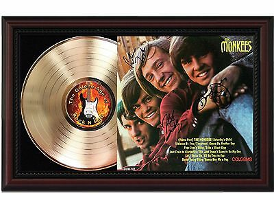 The Monkees - 24k Gold LP Record With Reprint Autographs In Cherry Wood Frame