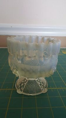 Vintage Blue Opalescent Footed Ruffled Bowl
