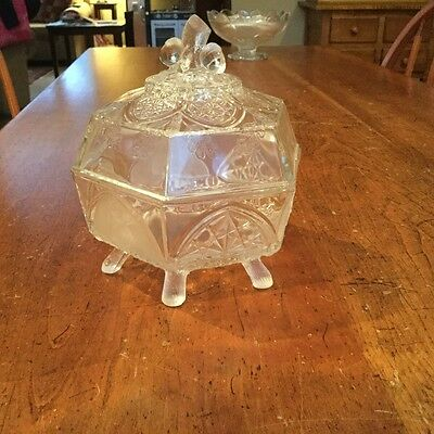 Classic Pattern Covered Butter Dish with Log Feet-1875-Non Flint