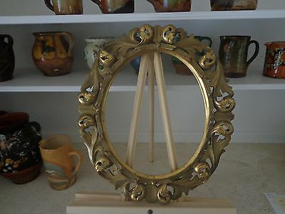 Pair Of Highly Carved Antique Italian Gold And Gold Gilt Oval Frames