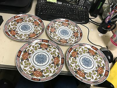 Peony Authentic Reproduction Of 19Th Cent  Japanese Porcelain Dinner Plates  (4)