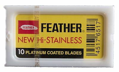 FEATHER Japan New Hi-Stainless Platinum Coated Double Edge Razor Blades