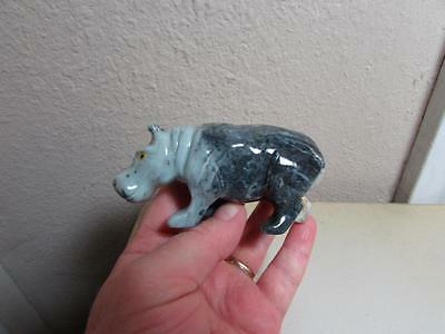 "Hippopotamus, Hand carved Marble from the Andes. Multi colored Stone ""HIPPO"""