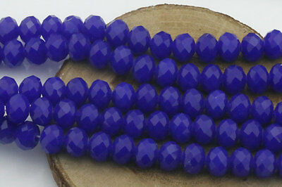 DIY Wholesale 40PCS Dark Blue Crystal Glass Bead Round Loose Spacer Beads 8mm