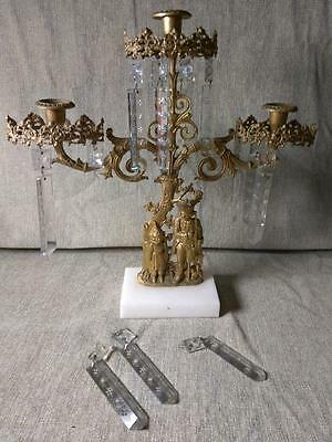 Antique Old Figural Girandole Brass Marble and Glass Prisms 3 Light Candlestick