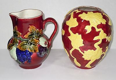 Czechoslovakia Ditmar Urbach Art Pottery Pitcher together with Czech Vase