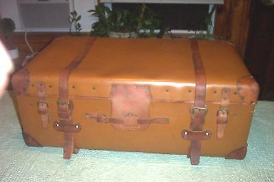 Antique Vintage Steamer Trunk Suitcase Leather Wood Slat Wood Cabin Trunk Chest