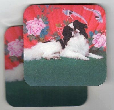 JAPANESE CHIN Black & White Rubber Backed Coasters #0975