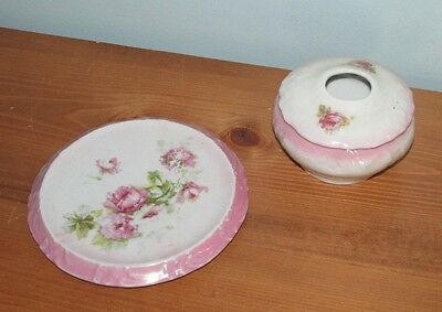 Vintage German Covered Pin Dish with Raised Plate Pink Roses (J)