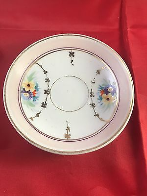 Antique Hand Painted Pink Gold Porcelain China Espresso Saucer Dish