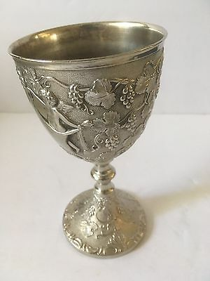 "Vintage Metal Silver Plated 6"" Angels In The Garden Goblet Cup Grail Chalice"