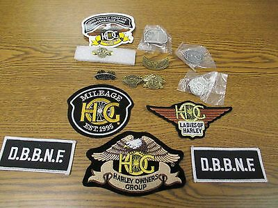 Lot of 16  Small CURRENT & Vintage Harley-Davidson PINS & Patches & STICKERS