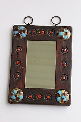 Vintage Arts & Crafts Mission Jeweled Rustic Wood Wall Mirror
