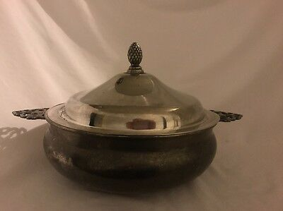 Antique Covered Dish Silverplated Silver Plate Leonard Covered Bowl Handled