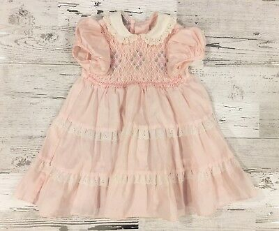 Sweet Vintage Polly Flinders Pink Hand Smocked Dress with Peter Pan Collar 2T