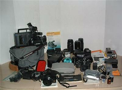 Lot Of Vintage Photography Equipment  Cameras  Lenses  Video Lights Flashes