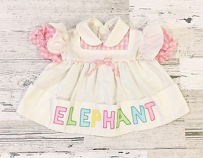 Cute Vintage Girl's White Pinafore Elephant Dress with Pink Gingham