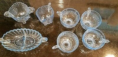 Cambridge Glass Moonlight Blue Caprice Lot of 7 pieces creamer sugar bowl+