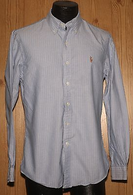 Polo By Ralph Lauren Mens L/s Blue & White Stripe Custom Fit Shirt Medium