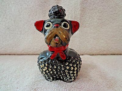 "Vintage Black French Poodle Figurine W/Red Bow 4"" T VNC"