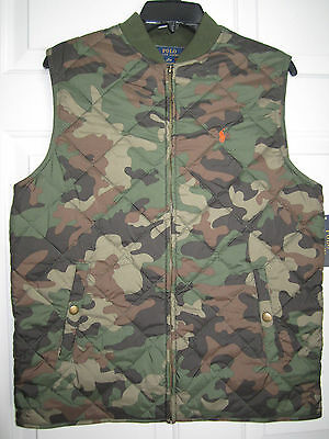 Fabulous Ralph Lauren Camo Quilted Vest With Hunters Orange Lining Xl  $115.00