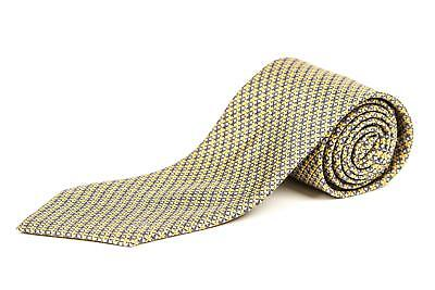 Louis Vuitton Yellow Gray Geometric Floral Pattern 100% Silk Monogram Tie 3 1/8""