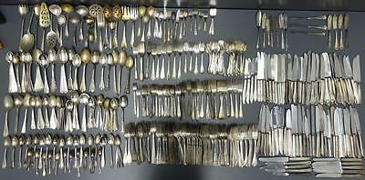 427pc Mixed Lot Silverplate Flatware Silverware Utensil Fork Knife Spoon Craft
