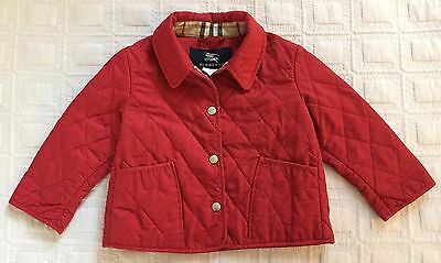 """Burberry Girl's Red Quilted Jacket size """"2"""""""