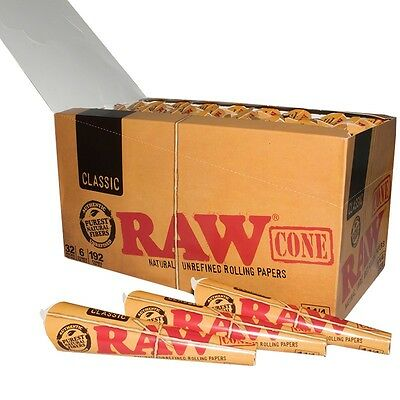 32 Packs of 6 Ea Classic RAW Rolling Paper Cones Natural Pre-Rolled 1 1/4 Sealed