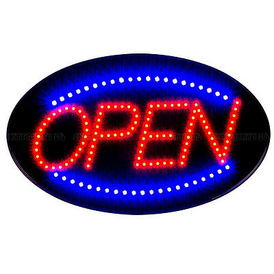 Bright LED Light Animated Motion Running Business Oval Open Sign + On/Off Switch