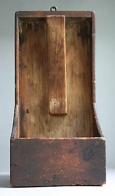 Rare 18Th C Pine Knife Scouring Box -Square Nails- Grungy Black Over Red Paint