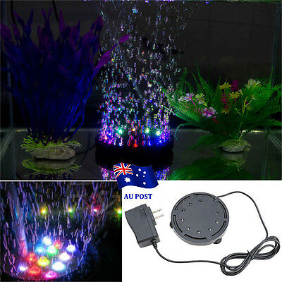Colorful Underwater Aquarium Fish Tank LED Bubble Lights Lamp Submersible BO