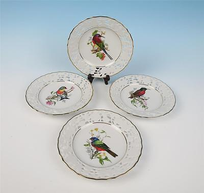 Set 4 Vintage Mitterteich Reticulated Porcelain Bird Plates German Pierced Bread